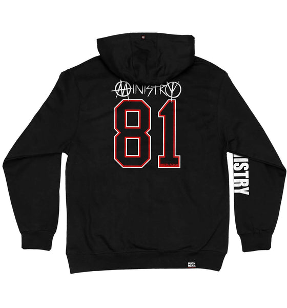 MINISTRY 'UNCLE AL WINDY CITY' laced pullover hockey hoodie in black with red and white laces with black stripes back view