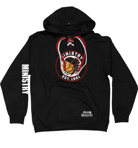 MINISTRY 'UNCLE AL WINDY CITY' laced pullover hockey hoodie in black with red and white laces with black stripes front view
