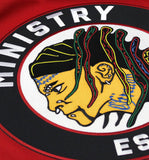 MINISTRY 'UNCLE AL WINDY CITY' deluxe hockey jersey in black, red, and white close up
