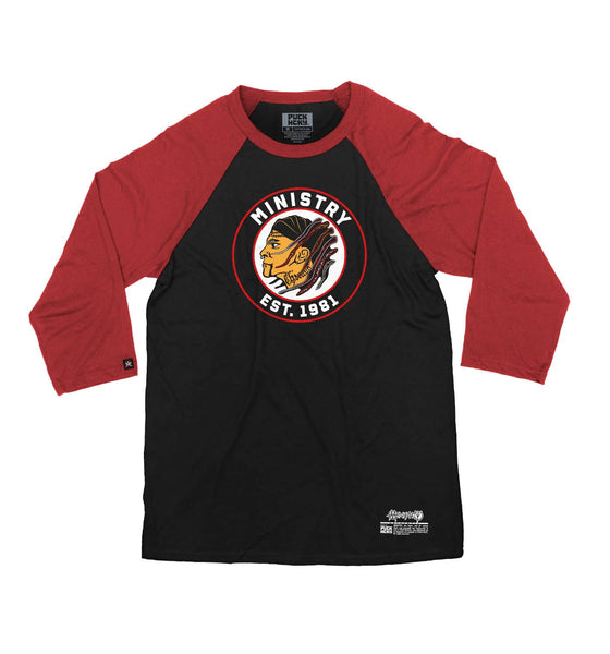 MINISTRY 'UNCLE AL WINDY CITY' hockey raglan t-shirt in black with red sleeves front view