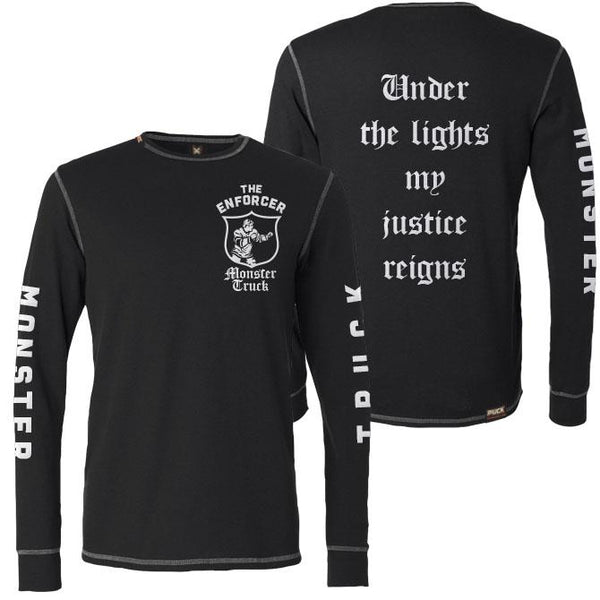 MONSTER TRUCK 'THE ENFORCER' hockey thermal t-shirt front and back view
