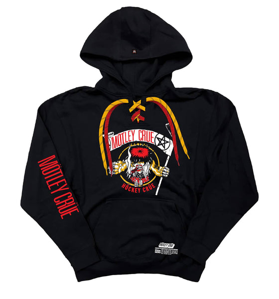 MOTLEY CRUE 'ALLISTER FIEND' laced pullover hockey hoodie in black with red and gold laces with black stripes