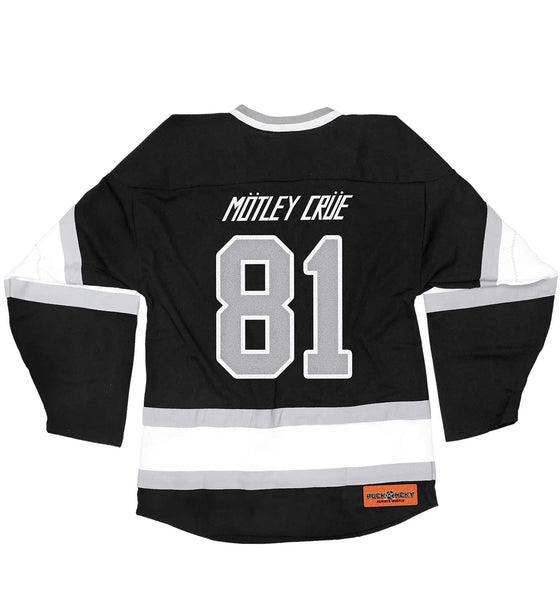 MOTLEY CRUE 'ALLISTER FIEND' deluxe hockey jersey in black, white, and grey back view