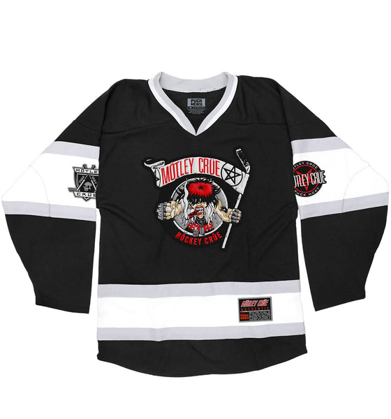 MOTLEY CRUE 'ALLISTER FIEND' deluxe hockey jersey in black, white, and grey front view