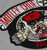 MOTLEY CRUE 'ALLISTER FIEND' deluxe hockey jersey in grey, black, and white close up