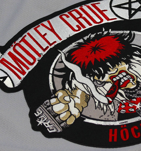 MOTLEY CRUE 'ALLISTER FIEND' deluxe hockey jersey in black, white, and grey close up
