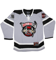 MOTLEY CRUE 'ALLISTER FIEND' deluxe hockey jersey in grey, black, and white front view