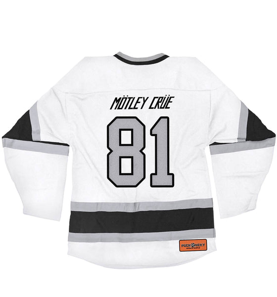 MOTLEY CRUE 'ALLISTER FIEND' deluxe hockey jersey in white, black, and grey back view