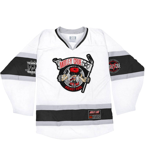 MOTLEY CRUE 'ALLISTER FIEND' deluxe hockey jersey in white, black, and grey front view