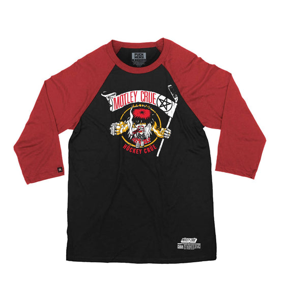 MOTLEY CRUE 'ALLISTER FIEND' hockey raglan t-shirt in black with red sleeves