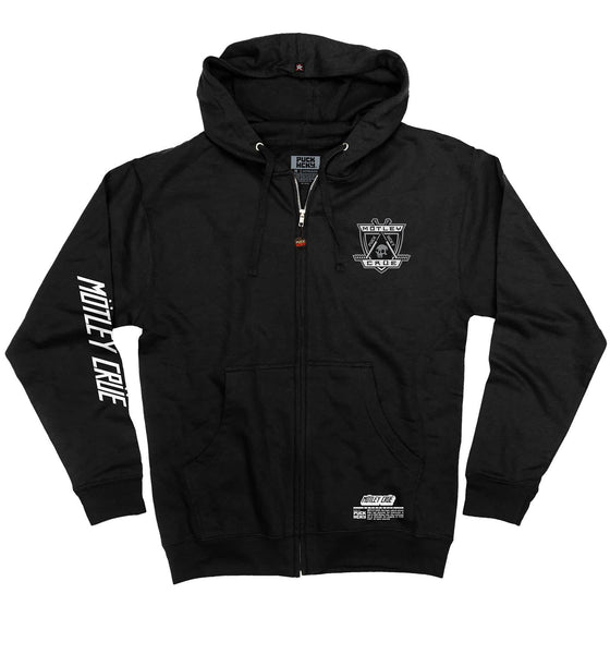 MOTLEY CRUE 'KNOCK EM DEAD KID' full zip hockey hoodie in black front view