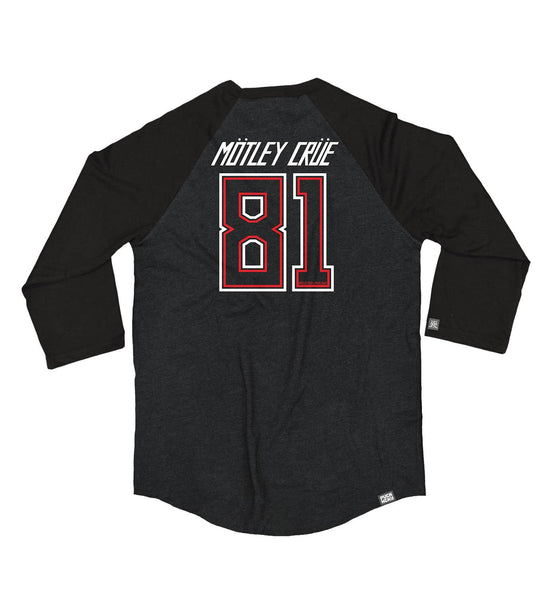 MOTLEY CRUE 'KNOCK EM DEAD KID' hockey raglan in black heather with black sleeves back view
