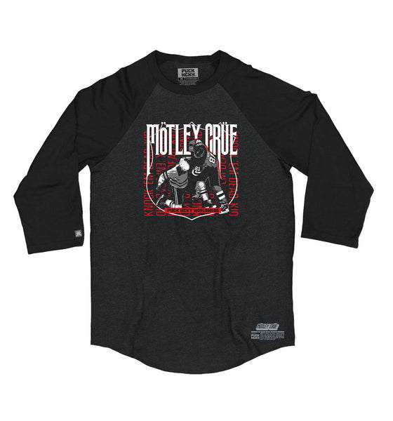 MOTLEY CRUE 'KNOCK EM DEAD KID' hockey raglan in black heather with black sleeves front view