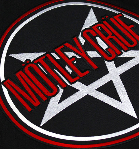 MOTLEY CRUE 'SKATE WITH THE DEVIL' deluxe hockey jersey in red, black, and white close up