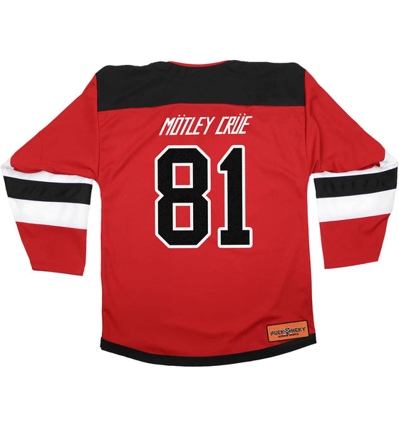 MOTLEY CRUE 'SKATE WITH THE DEVIL' deluxe hockey jersey in red, black, and white front view