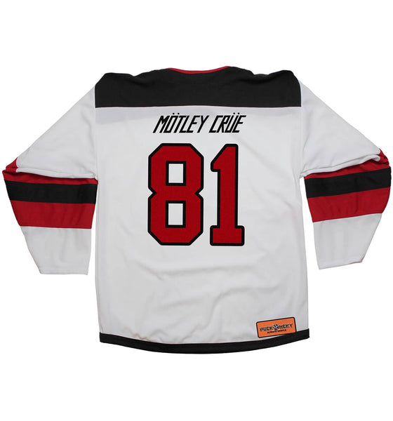 MOTLEY CRUE 'SKATE WITH THE DEVIL' deluxe hockey jersey in white, black, and red back view