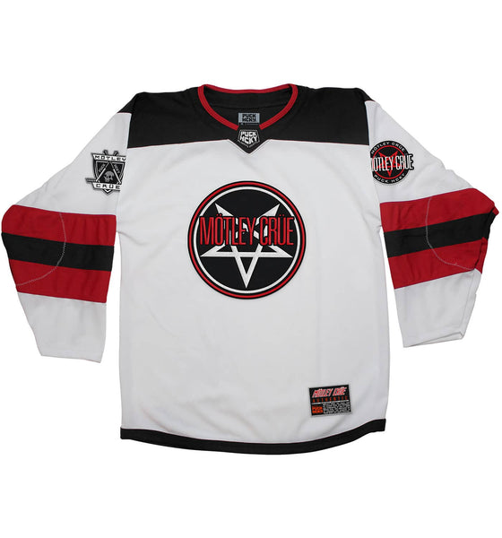 MOTLEY CRUE 'SKATE WITH THE DEVIL' deluxe hockey jersey in white, black, and red front view