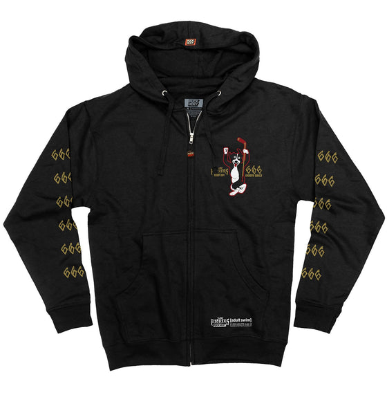MR. PICKLES 'CAREER GOALS' full zip hockey hoodie in black front view