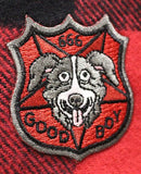 MR. PICKLES 'GOOD BOY' hockey flannel in red plaid patch close up