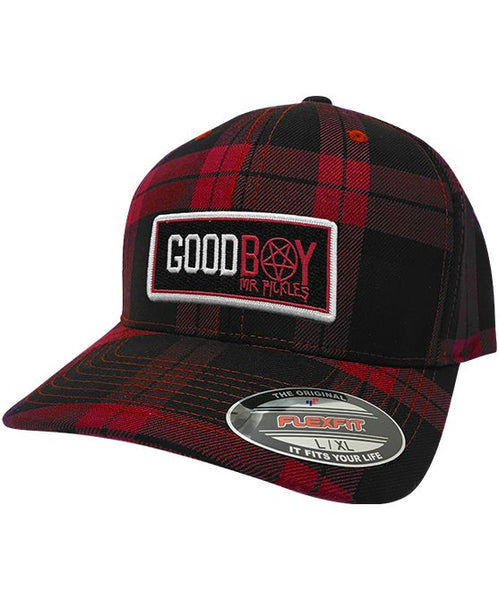 MR. PICKLES 'GOOD BOY' plaid fitted hockey cap in red and black