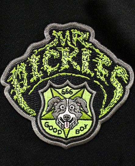 MR. PICKLES 'GOOD BOY' light-weight varsity-style hockey jacket in black and heather grey patch close up
