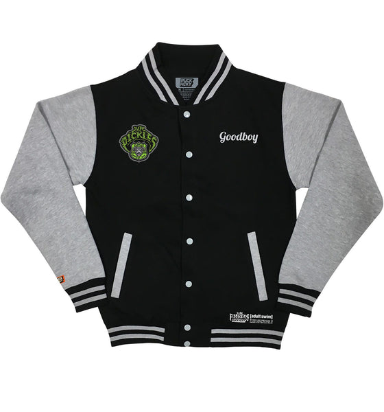 MR. PICKLES 'GOOD BOY' light-weight varsity-style hockey jacket in black and heather grey