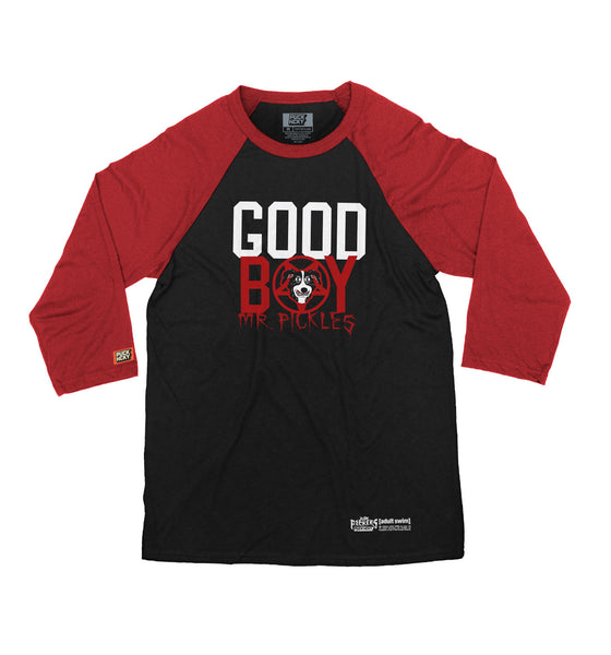 MR. PICKLES 'GOOD BOY' hockey raglan in black with red sleeves