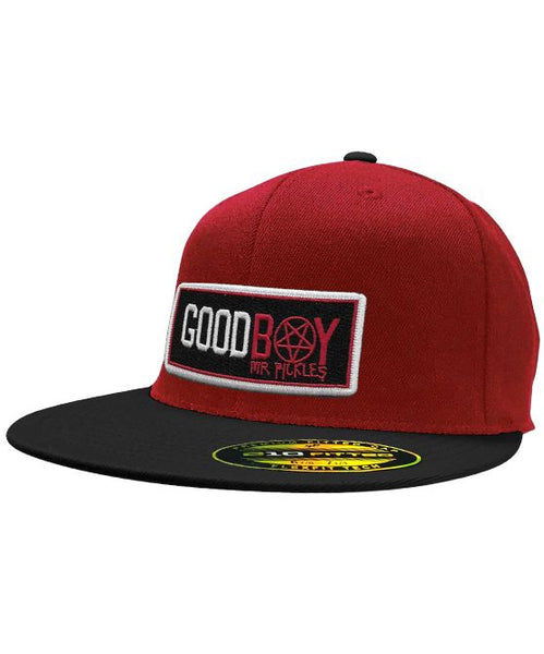 MR. PICKLES 'GOOD BOY' flat bill snapback hockey cap in red with black bill