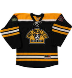 MR. PICKLES 'GRRR' hockey jersey in black, gold, and white front view