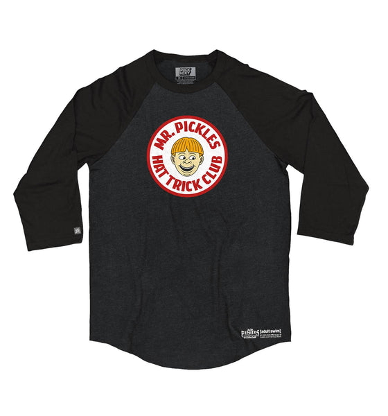 MR. PICKLES 'HAT TRICK CLUB' hockey raglan in black heather with black sleeves