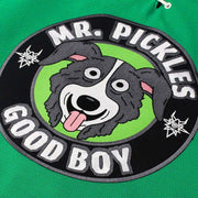 MR. PICKLES 'MAN'S BEST FRIEND' hockey jersey in kelly, white, and black close up view