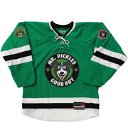MR. PICKLES 'MAN'S BEST FRIEND' hockey jersey in kelly, white, and black front view