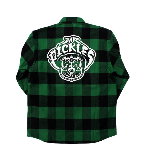 MR. PICKLES 'OLD TOWN HOCKEY CLUB' hockey flannel in green plaid back view