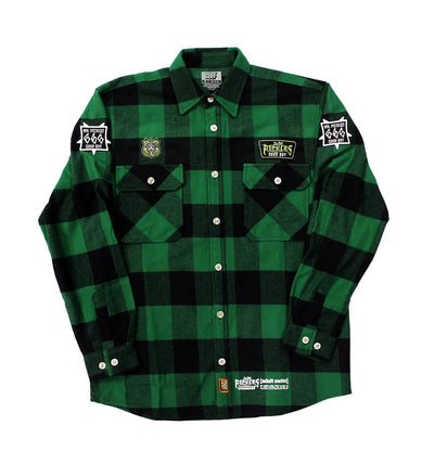 MR. PICKLES 'OLD TOWN HOCKEY CLUB' hockey flannel in green plaid front view