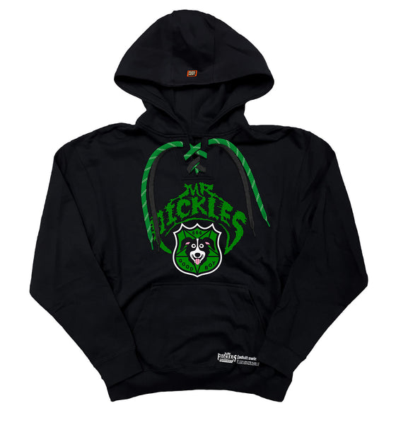 MR. PICKLES 'OLD TOWN HOCKEY CLUB' pullover hockey hoodie in black and with black and green with black striped laces