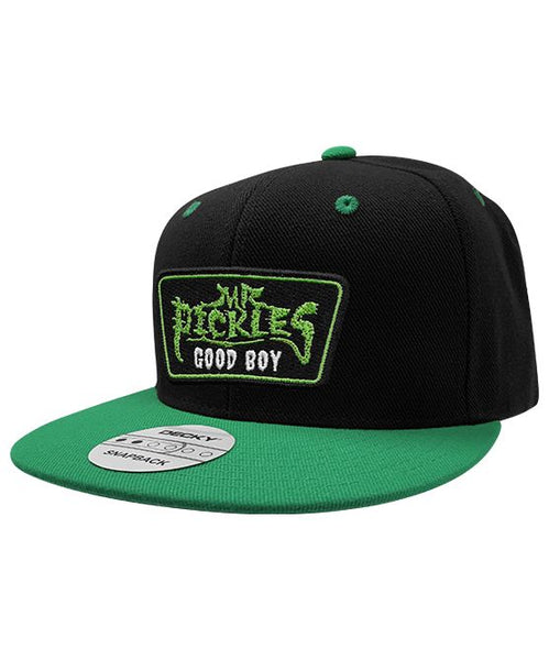 MR. PICKLES 'OLD TOWN HOCKEY CLUB' flat bill snapback hockey cap in black with green bill