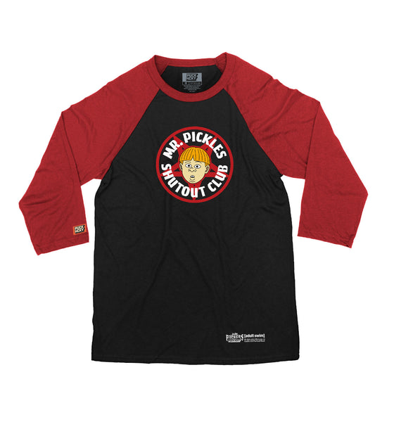 MR. PICKLES 'SHUTOUT CLUB' hockey raglan in black with red sleeves