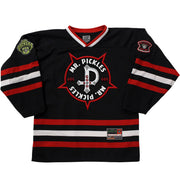 MR. PICKLES 'STEVE' hockey jersey in black, red, and white front view