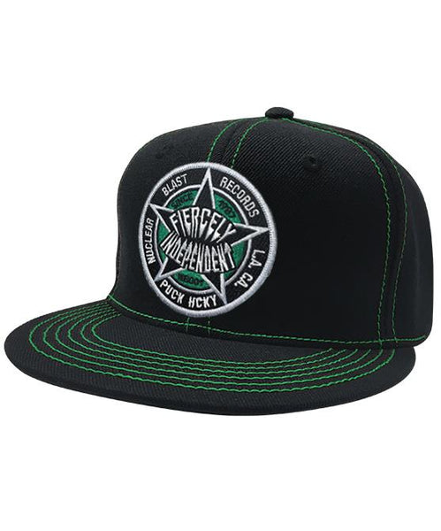 NUCLEAR BLAST 'FIERCELY INDEPENDENT' contrast stitch snapback hockey cap in black with green stitching