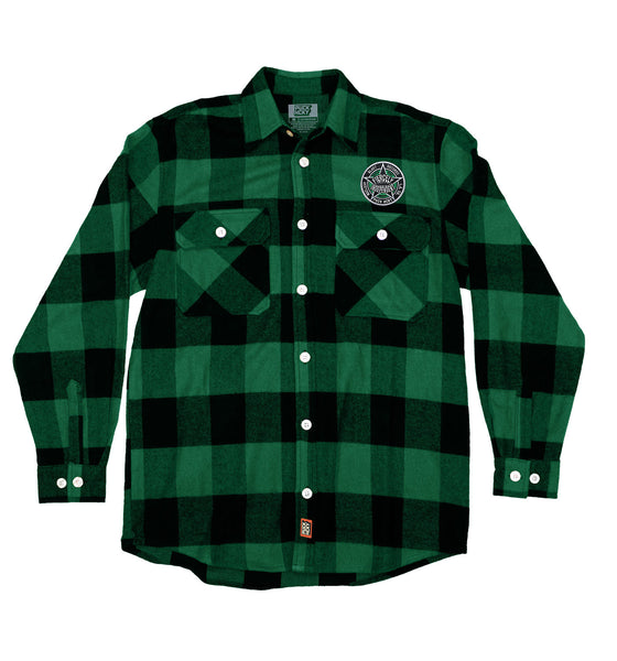 NUCLEAR BLAST 'FIERCELY INDEPENDENT' hockey flannel in green plaid