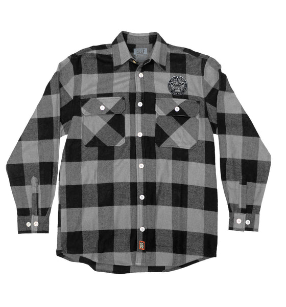 NUCLEAR BLAST 'FIERCELY INDEPENDENT' hockey flannel in grey plaid