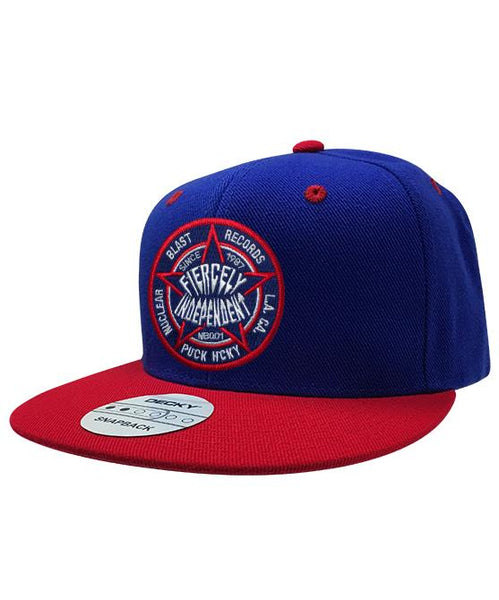 NUCLEAR BLAST 'FIERCELY INDEPENDENT' flat bill snapback hockey cap in royal blue and red