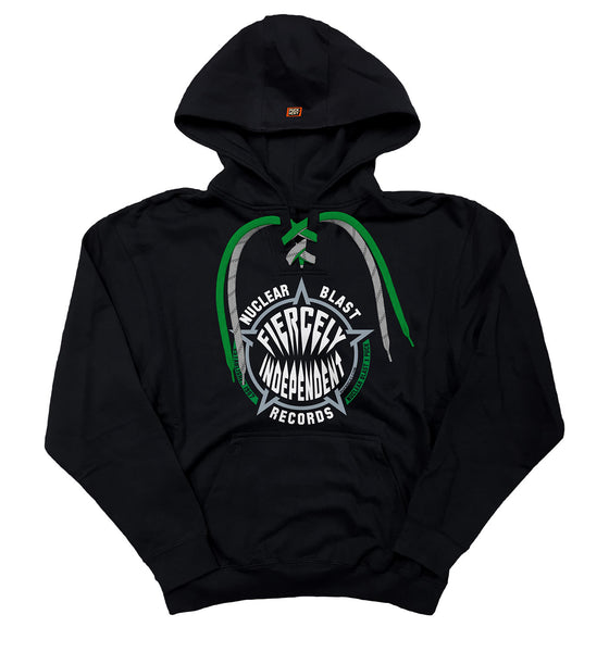 NUCLEAR BLAST 'FIERCELY INDEPENDENT' laced pullover hockey hoodie in black with green laces and grey with black stripe laces