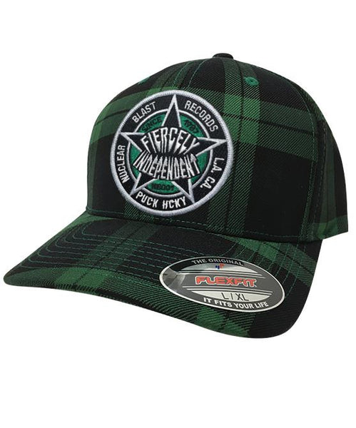 NUCLEAR BLAST 'FIERCELY INDEPENDENT' plaid hockey cap in green and black plaid