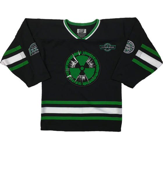 NUCLEAR BLAST 'METALCORE' hockey jersey in black, kelly, and white front view