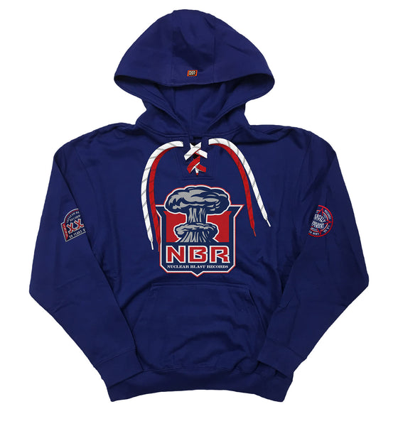 NUCLEAR BLAST 'MUSHROOM CLOUD' laced pullover hockey hoodie in royal blue with red laces and white with black stripe laces
