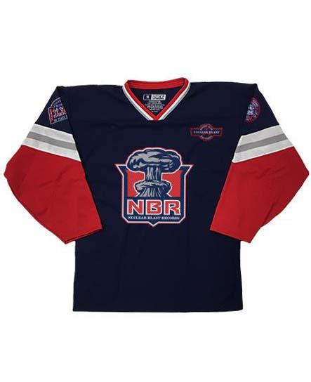 NUCLEAR BLAST 'MUSHROOM CLOUD' hockey jersey in navy, red, white, and grey front view