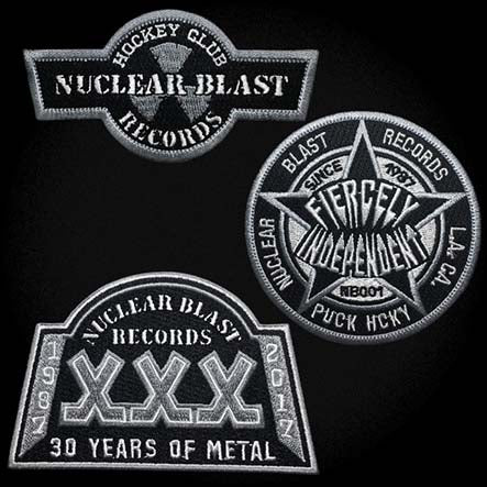 NUCLEAR BLAST 'REIGN SUPREME' hockey jersey in black, white, and grey close up of patches