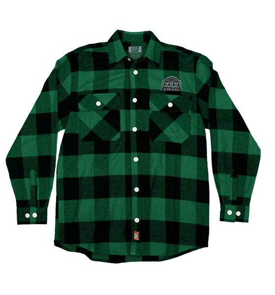 NUCLEAR BLAST 'XXX' hockey flannel in green plaid