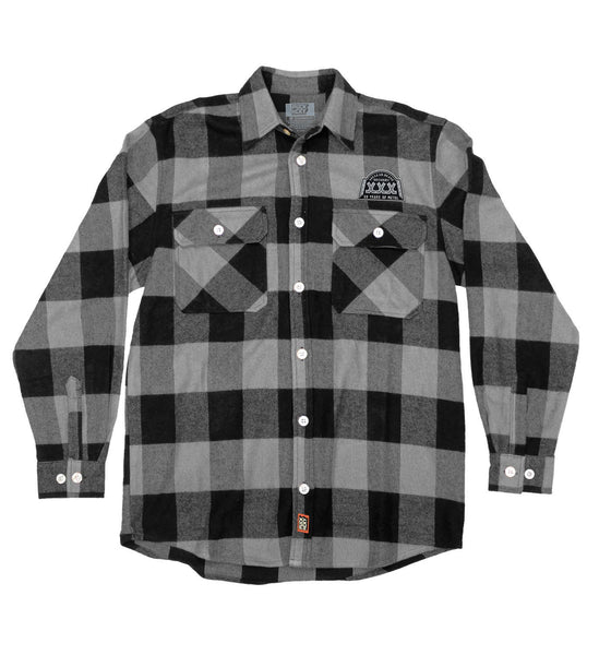 NUCLEAR BLAST 'XXX' hockey flannel in grey plaid